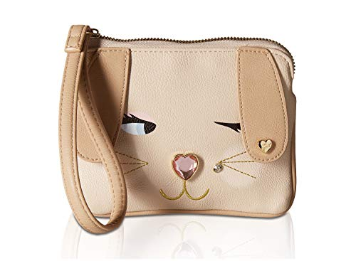 """Top Zip Closure, Wristlet handle strap 6"""" drop hand drop PVC Synthetic leather exterior With 3D embellished Kitsch Cat face details Signature Lined Interior, 3 Credit card slots and zippered pocket, exterior Back slip pocket Mini coin accessory purse..."""