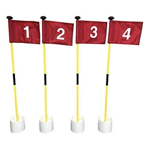 No/Brand X-cellent Mini Golf Putting Green Flag and Hole Cup for Yard Practice Set, Golf Pin Flag Hole Cup Set, Portable 2-Section Fiberglass Golf Flag Sticks, Gifts Idea,4 Pack (4Pack Red #1,2,3,4)