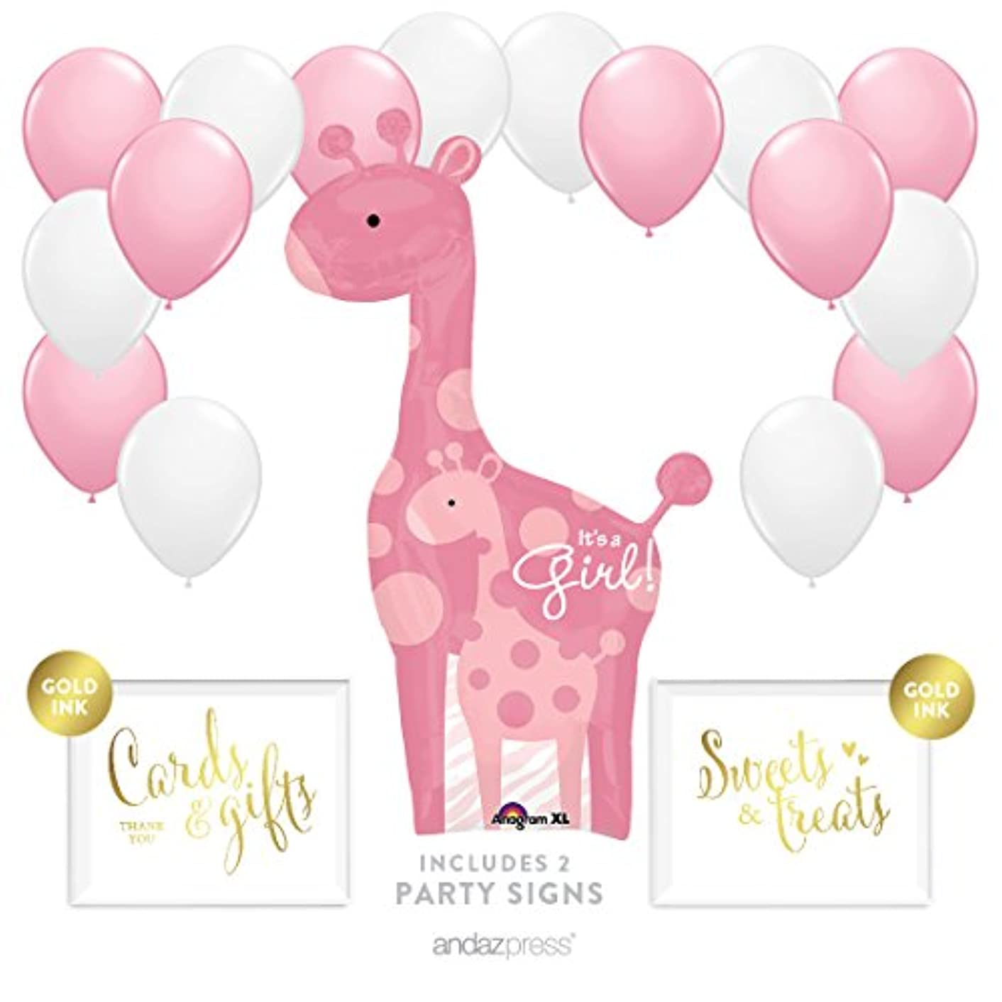 Andaz Press Balloon Party Kit with Signs, Girl Baby Shower, Giraffe with Pink and White Balloons, Hanging Decor, Hanging Decorations, 19-Piece Kit