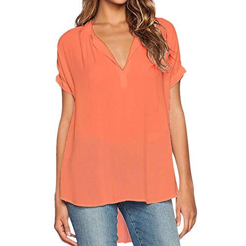 PPPPA Damen T-Shirt Kurzarmhemd einfarbig V-Ausschnitt T-Shirt Langer Saum lässig Sommer Top Basic Shirt Damen Kurzarm V-Ausschnitt T-Shirt locker lässig V-Ausschnitt Kurzarmhemd einfarbig Oberteil