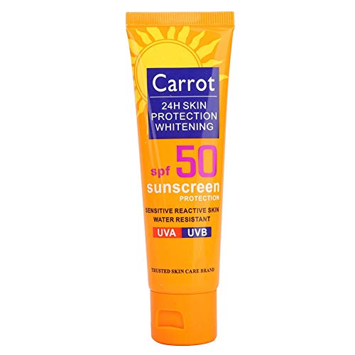 Protector solar hidratante facial UV, mujeres hombres protector solar facial corporal blanqueamiento protector solar crema UV loción protectora solar hidratante resistente al agua Crema(zanahoria)