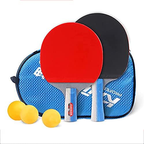 JIANGCJ bajo Precio. Ping Pong Paddle - 2 Pro Premium Table Tennis Raqueta, Raquetas y 3 Pelotas de Tenis de Mesa, Raqueta Profesional Recreativa, Incluye Bolsa de Raqueta Regalo (Color : B)