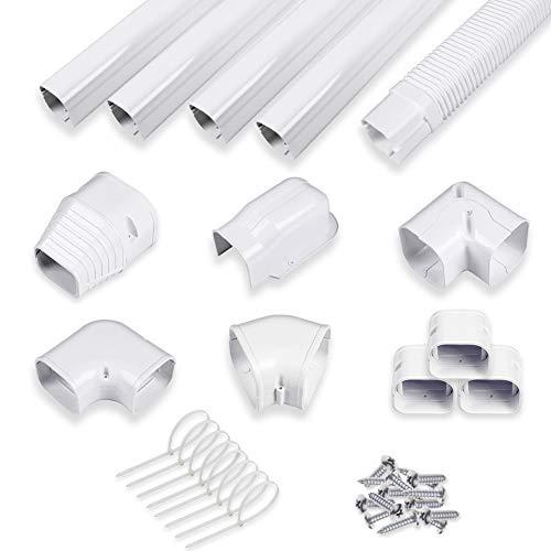 LyPrem Air Conditioner Decorative PVC Line Set Cover Kit for Mini Split and Central Air Conditioner and Heat Pump Line Set Decorative Tubing Cover Kit