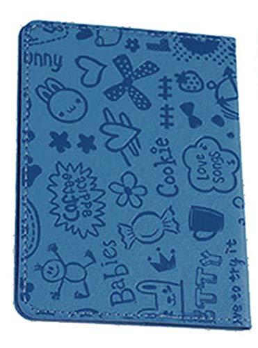 GPTパスポートカバー ケース コミック柄 イラスト PUレザー 子供 キッズ 海外旅行 旅行 トラベルグッズ おしゃれ 可愛い アウトレット ブルー