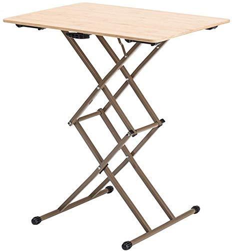 DGHJK Muebles seleccionados/Mesa Plegable Una Mesa de Centro Que se Puede Levantar y Bajar Mesa Ajustable de bambú Mesa telescópica Mini café mputer Escritorio Mesa de Tatami Color de Madera