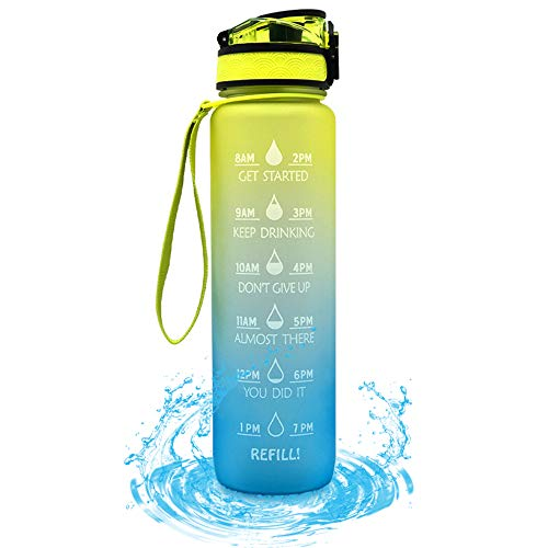 Dr.Taylor 32oz Water Bottle with Time Marking, 1000ml Motivation Sport Bottles for Outdoor Camping Gym Fitness, Leakproof, BPA-free Tritan Plastic,Yellow