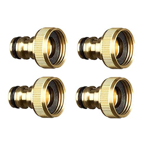 LiuliuBull W 4Pcs Garden Water Hose Pipe Fitting Tap Male Faucet Connectors, Garden Hose Quick Connect Fittings 3/4 Inch (Color : Gold)