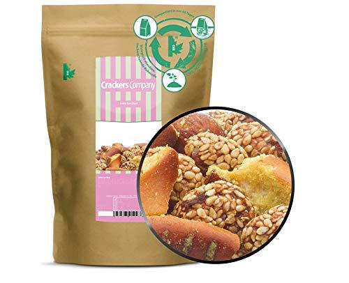 1 x 450g Knabbermischung Party Knabberei süß & sauer Snack Erdnuss mit Sesam Brezel mit Honig und Senf vegetarisch