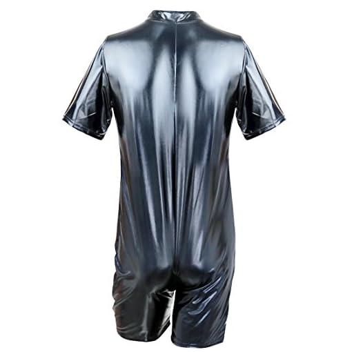 Agoky Men's Wet Look Patent Leather Bodysuit Jumpsuit Clubwear Catsuit Costume Boxer Leotard