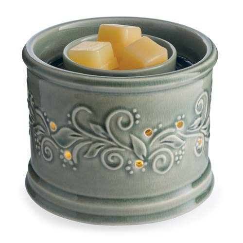 CANDLE WARMERS ETC. Illuminaire Perennial Fan Fragrance Warmer- Whisper Quiet Fan Circulates Scent from Scented Candle Wax Melts and Tarts for Full Room Freshener, Sage Green