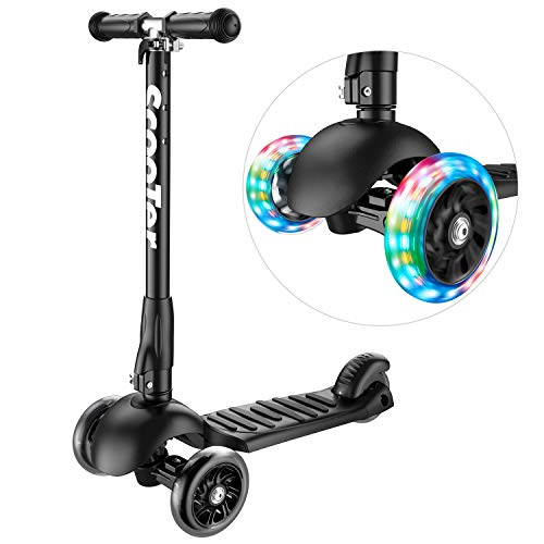 Greentest Scooter Foldable Adjustable Height Easy Turning 3 Wheel Scooter Kids Boys Girls Flashing PU Wheels
