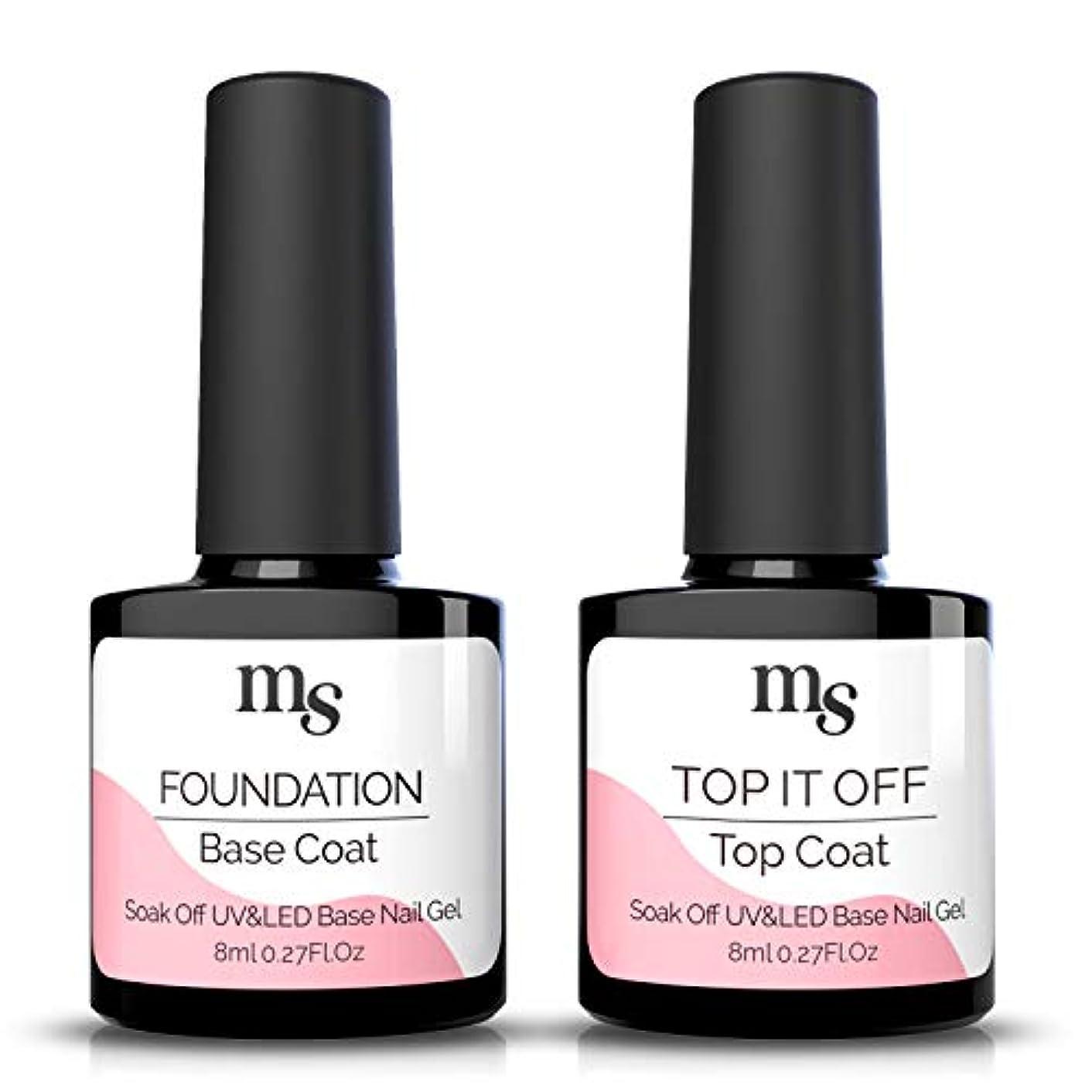 MelodySusie 2Pcs No Wipe Top and Base Coat Set UV LED Soak Off Gel Nail Polish Long Lasting Shiny Base Top Coat Polish Kit 8ml - Clear