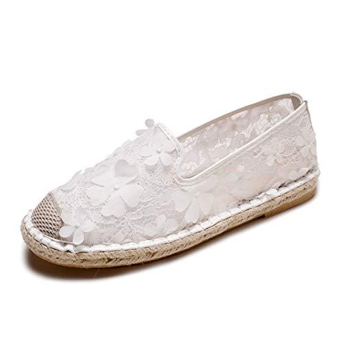 Alpargatas de Mujer Decoración de Flores de Moda Resbalón de Malla de Encaje Transpirable en Zapatos Casuales Blancos Individuales Zapatillas de Verano Planas para Mujer Zapatillas de Punta Cerrada
