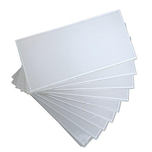 "Art3d 40-Piece Peel and Stick Glass Tiles for Kitchen Backsplash, 3"" x 6"" White Subway Backsplash Tiles"
