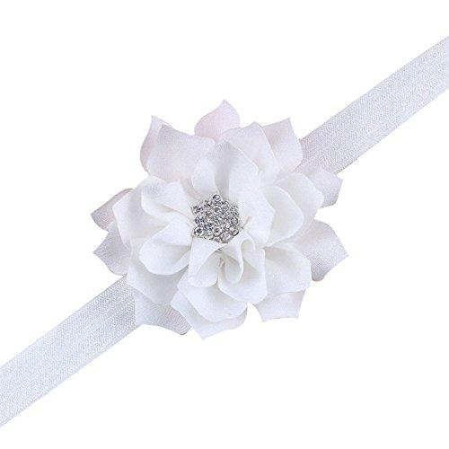 EXIU Bébé fille Bandeaux Fleur Arc cheveux Accessoires (Blanc A)