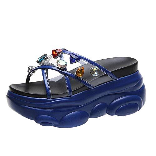 LIUCHANG Unisex Adultos Zapatos de Piscina de Playa, Zapatillas de Aumento, Sandalias de Plataforma_azul_41, Sandalias de Fitness Liuchang20