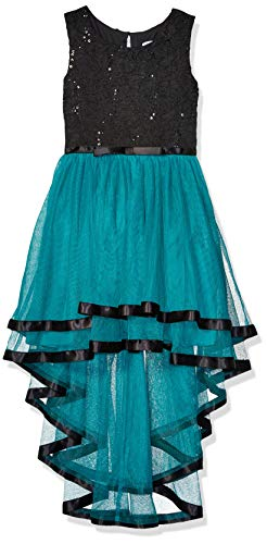 Speechless Big Girls Ribbon Waist Party Dress with Tulle Bottom, Black/Teal, 16