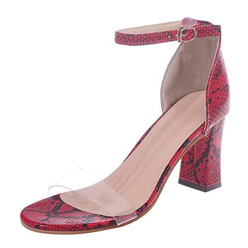 YIHANK Damen High Heels Mode Transparent One Band Gürtel Transparent Schnalle Schlangenleder Sandalen Schuhe