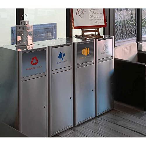 Contenitore raccolta differenziata Fast Food 60 litri con serratura di sicurezza - Acciaio inox Satinato - 38x38x100h mm - Prodotto Italiano (Giallo *Plastica/Plastic*)