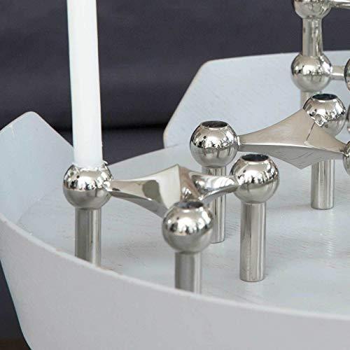 Stoff Nagel Kerzenhalter, Metall, Silber, 6,5 x 10,2 cm