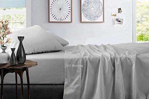 Juego de sábanas de 1000 hilos, ultra suave, 100% algodón egipcio, 4 piezas, 38 cm de profundidad, tamaño king size, gris claro, sólido