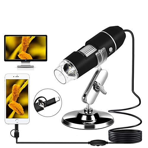 USB Microscope Digital Microscope 50X to 1000X Magnification Handheld Portable Microscope Camera with 8 LED Lights for Android, Windows, Mac