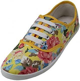 Easy USA - Womens Canvas Lace Up Shoe with Padded Insole Yellow Flower-11