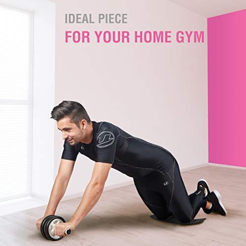 Ultrasport Aparato de abdominales AB Roller / AB Trainer con esterilla para las rodillas,ejercicios de abdominales para hombres y mujeres,rueda de abdominales multifunción,plegable