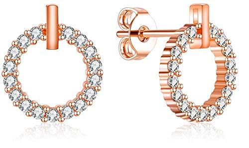 Tiwoca Jewellery - Pendientes para mujer redondos con circonitas, bisutería de oro rosa, incluye estuche de alta calidad y gamuza de pulido