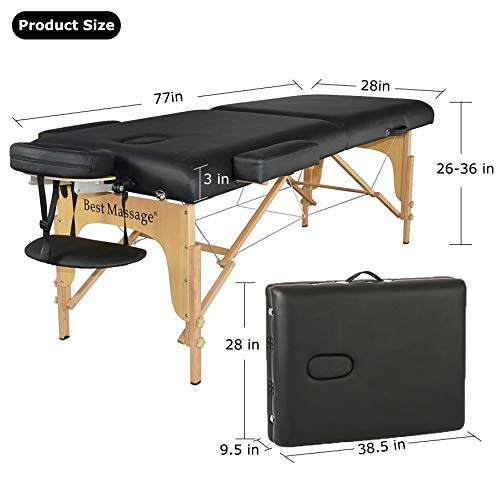 BestMassage 3-inch Pad Portable Massage Table