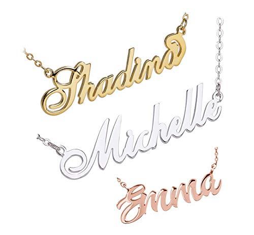 Loveu Jewelry Angepasster Namenskette with Geburtsstein 925er Silber Gold Personalisiert mit Ihrem Eigenen Wunschnamen Halskette für Damen Muttertagsgeschenk