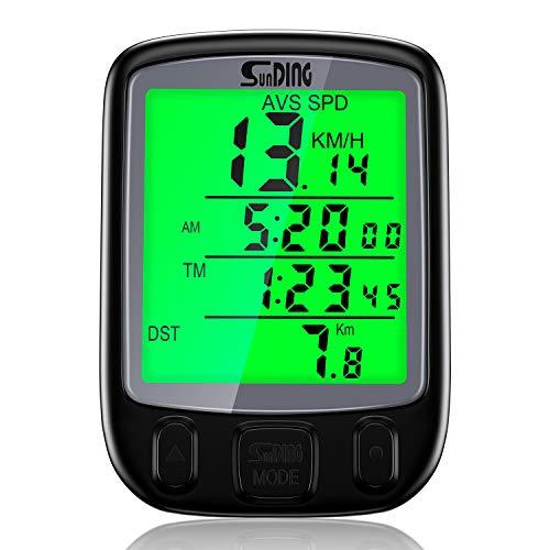 BizoeRade Fahrradcomputer Kabellos, Multifunktionen Wasserdicht Tachometer Fahrrad Kilometerzähler mit LCD-Hintergrundbeleuchtung und Automatisches Aufwecken Funktion