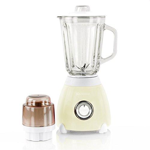 SQ PRO Blender Luminate 500W, 2 Vitesses + Pulse avec doseur et broyeur en Verre 1,5L - Crème