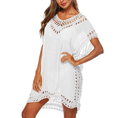 Adisputent Strandkleid Damen Sommerkleid V-Ausschnitt Sexy Oversize Boho Minikleid Spitze Strandponcho Sommer T-shirt Strandurlaub Bademode Badeanzug Bikini Cover Up (Typ4-Weiß,Einheitsgröße)