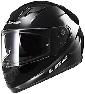 LS2 Stream Solid Full Face Motorcycle Helmet With Sunshield (Black, X-Large)