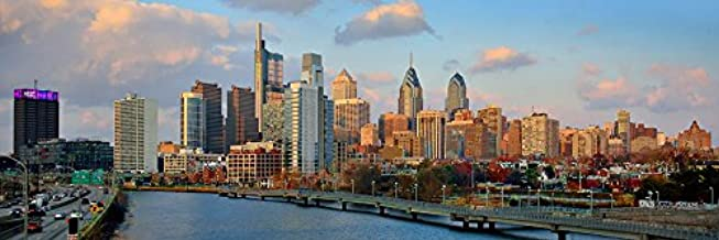 Philadelphia Skyline 2018 PHOTO PRINT UNFRAMED Dusk Sunset TWO STYLES Color Philly City Downtown 11.75 inches x 36 inches Photographic Panorama Poster Picture
