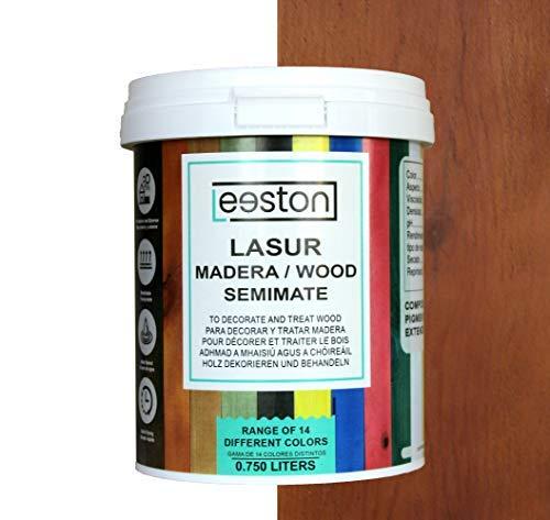Pintura lasur para maderas, tratamiento para exterior e interior, fácil aplicación y limpieza gracias a su base al agua, acción protectora a largo tiempo, 14 colores (0,75 L, Roble)