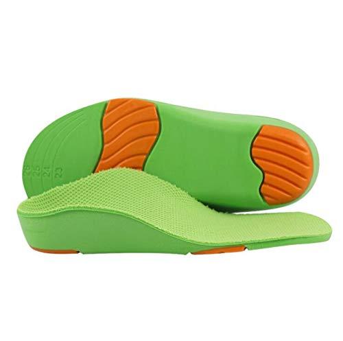Plantillas de apoyo de arco alto para niños, cómodas inserciones ortopédicas transpirables plantillas para zapatos, fascitis plantar plantilla deportiva para aliviar el dolor de pies (Verde, L)