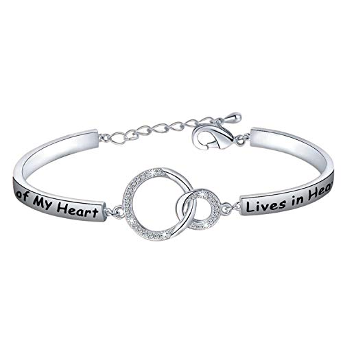 POTIY Sympathy Gift Memorial Bracelet with A piece of my heart lives in Heaven Sympathy Gift for Her Loss Jewelry Gift (A piece of my heart lives in heaven)