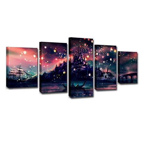 Harry Potter, Hogwarts Canvas Painting, Ponda Castle, Kongmin Lantern,5 Pieces HD Photo Prints Home Decor Framed Wall Art for Living Room (40'W x 20'H)