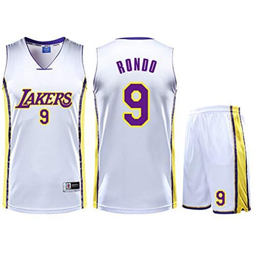YDYL-LI Kinder- / Erwachsenen-Basketballtrikot Rajon Rondo # 9 Hochwertiges Atmungsaktives Mesh - Wettkampftrainingsballanzug - Sweatshirt, Weiß,XS(145~150cm/30~35kg)