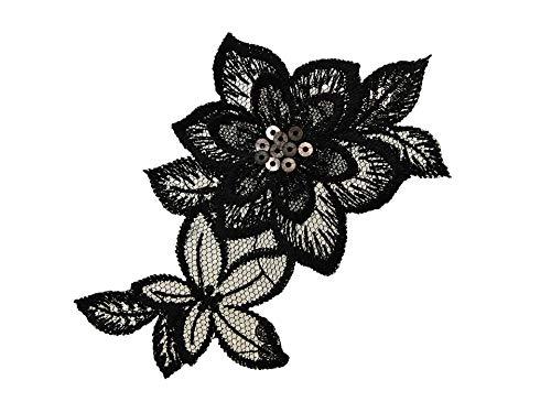 by gedeacc-kreativ Bügelbild Applikation Aufnäher Patch Blumen schwarz 7,0 cm x 11,0 cm