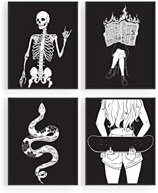 Edgy Black and White Art Prints By Haus and Hues Set of 4 Black and White Pictures for Wall product image