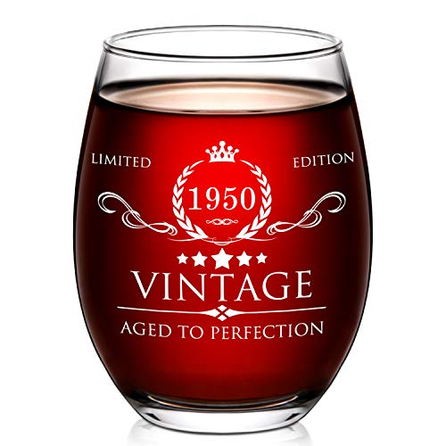1950 Aged to Perfection 70th Birthday Stemless Wine Glass