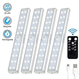 LUNSY 20LED Under Cabinet Counter Lighting Rechargeable 4Pack, Wireless Closet Wardrobe Shelf Lights for Kitchen- Sliver