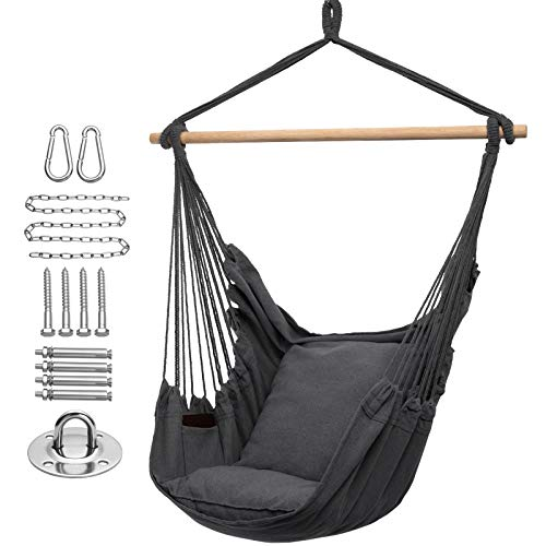 Y- STOP Hammock Chair Hanging Rope Swing, Max 320 Lbs, 2 Seat Cushions Included, Quality Cotton Weave for Superior Comfort, Durability (Dark Grey)