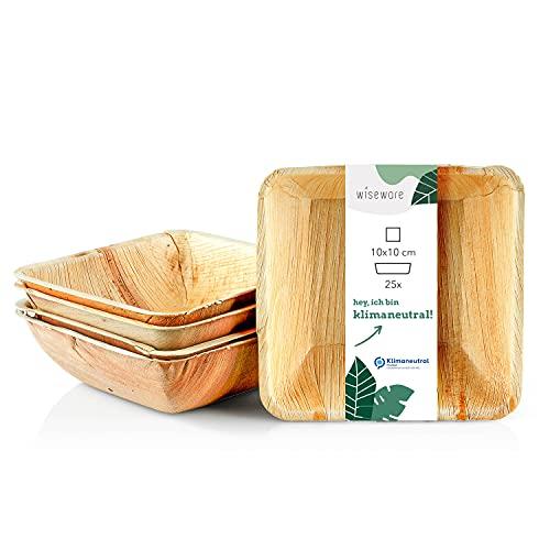 Wiseware Palmblatt Teller tief - 25 Stück tiefe Einwegteller quadratisch tief 10 x 10 cm - biologisch abbaubares Palmblattgeschirr - kompostierbares Partygeschirr - Bio Einweggeschirr (25, 10 x 10 cm)