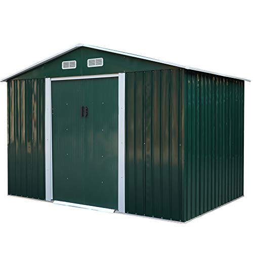 JAXSUNNY 6 x 9 FT Outdoor Metal Storage Shed w/ Floor, Utility Tool Shed House for Patio Backyard Lawn Equipment, Garden Storage Shed with Sliding Doors, Vents & Apex Roof