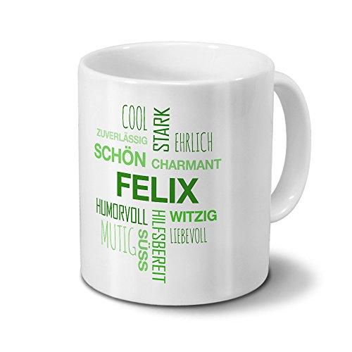 printplanet Tasse mit Namen Felix Positive Eigenschaften Tagcloud - Grün - Namenstasse, Kaffeebecher, Mug, Becher, Kaffeetasse