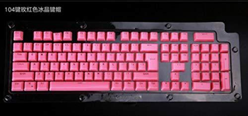 104 con retroiluminación Teclas de cristal rockeros / tecla clave retroiluminada rusa llave universal (sólo) espárragos cereza MX teclado mecánico,Rosa roja